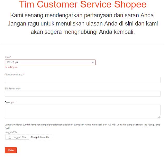 layanan cs shopee melalui email