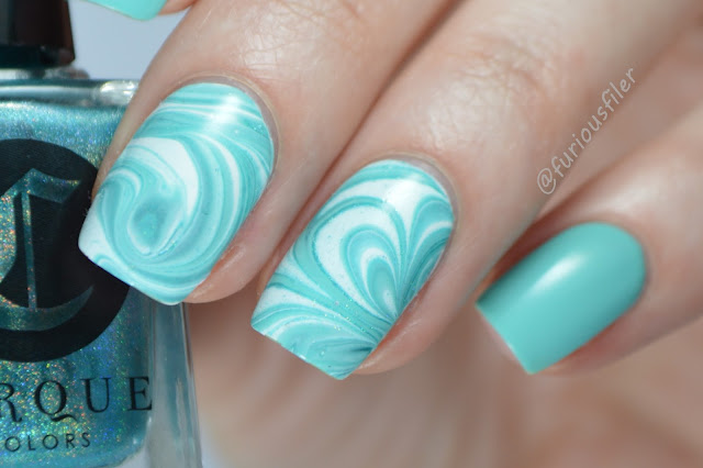 water marble summer seaside nautical nail design nail art