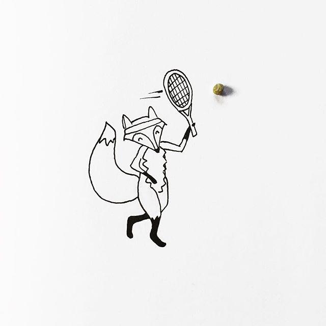 gambar sketsa pulpen yang di gabungkan dengan benda alami yang keren unik dan menarik-6