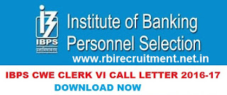 IBPS CWE Clerk VI Prelims Exam Date Admit Card 2016-17 Download Name Wise Hall Ticket @ ibps.sifyitest.com