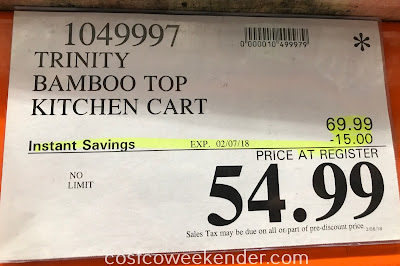 Deal for the Trinity Bamboo Top Kitchen Cart at Costco