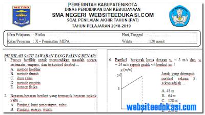 Soal PAT/UKK Fisika Kelas 10 K13 Tahun 2018/2019