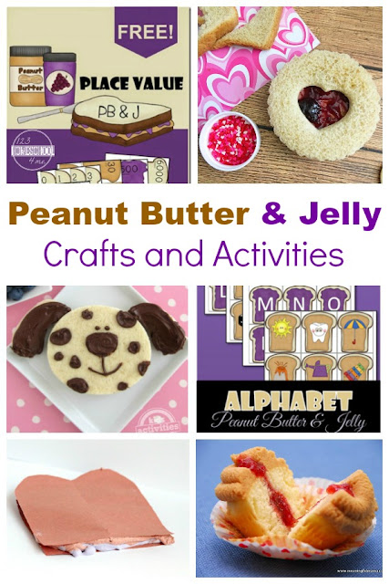 24 FUN ideas for celebrating National Peanut Butter and Jelly Day - lots of peanut butter & jelly crafts and kids activities for April 2nd. (homeschool, educational activities, crafts)