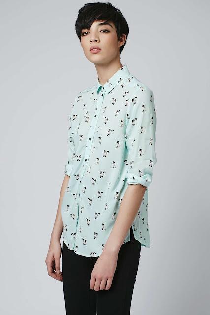 cat print shirt, mint cat shirt, topshop cat shirt,