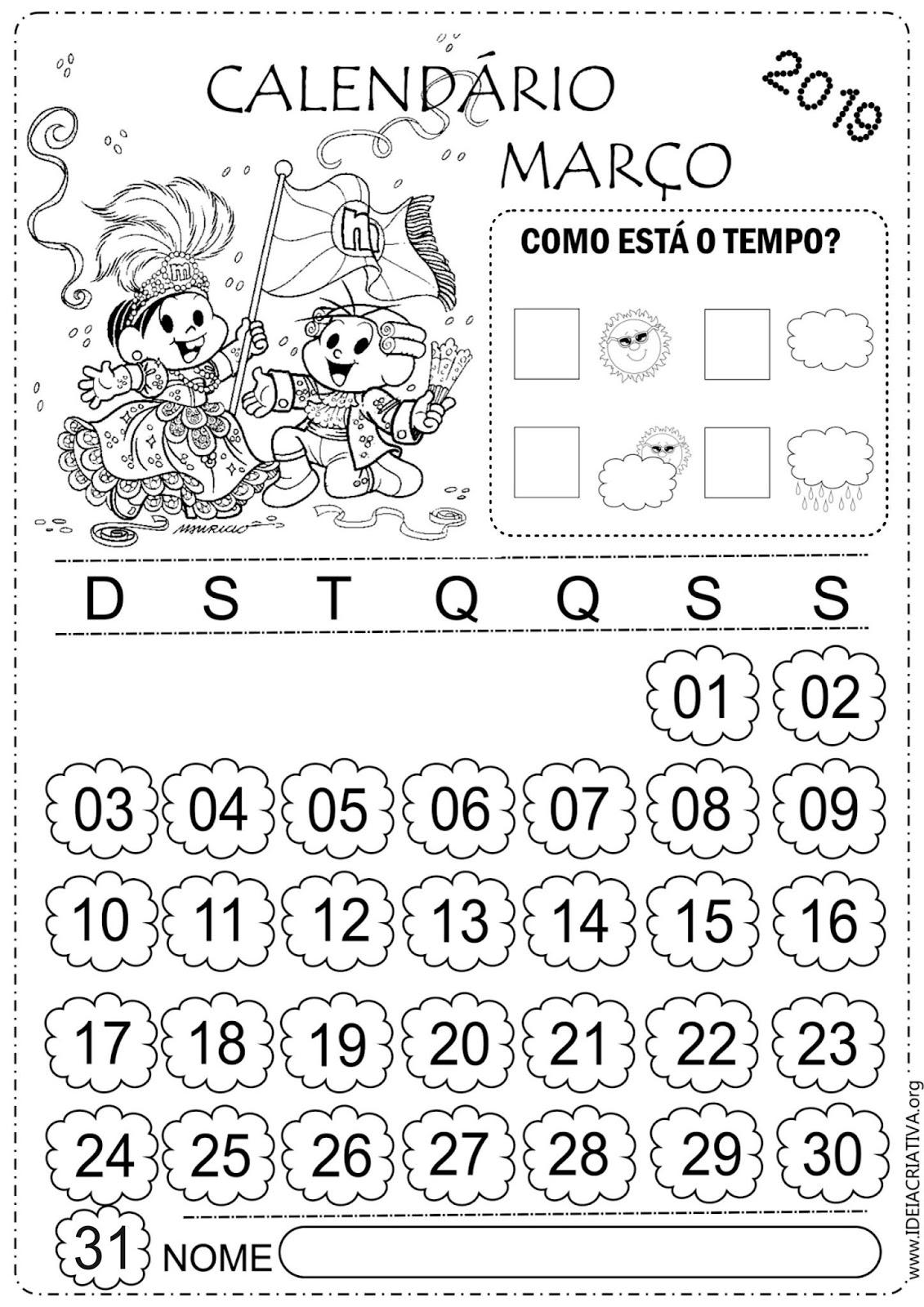 Calendarios Marco 2019 Para Imprimir E Colorir Turma Da Monica