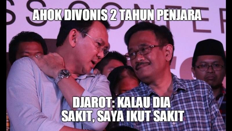 Meme kedekatan Ahok dan Djarot