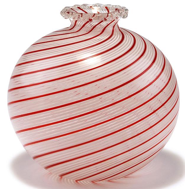 a 1950 Murano vase, striped