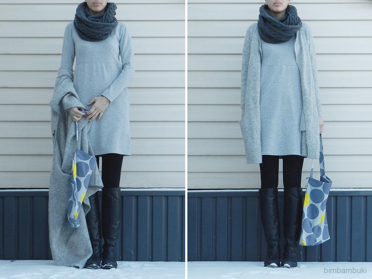 7832b66d847b50 Me Made Mittwoch (heute ganz grau in grau) mit einem langärmeligen Kleid  nach dem Schnitt Mod Print aus der Ottobre 5 2015 aus weichem hellgrauem  Sweat.