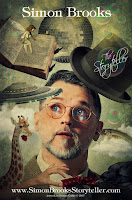 "image of man wearing glasses and bow tie surrounded by fantastical faded images of a giraffe, bowler hat, book, moon with text ""Simon Brooks"" and www.SimonsBrooksStoryteller.com"