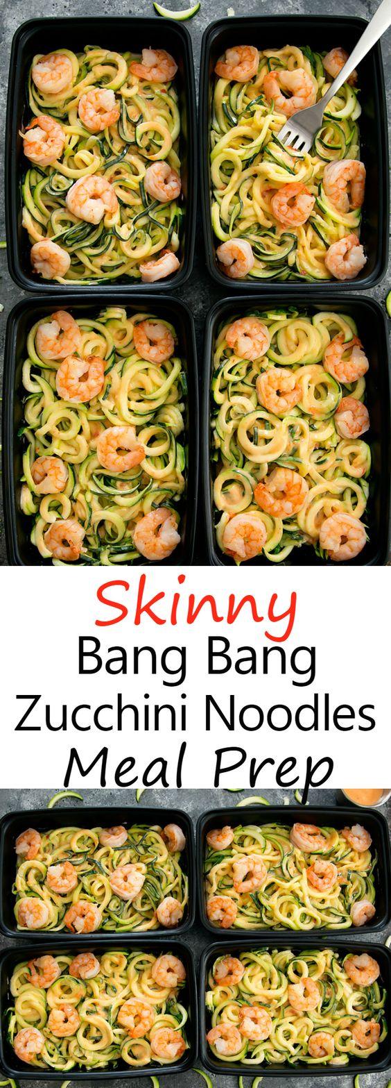 SKINNY BANG BANG ZUCCHINI NOODLES MEAL PREP #bangbang #zucchini #noodles #noodlesmeal #lunchrecipes #lunchideas