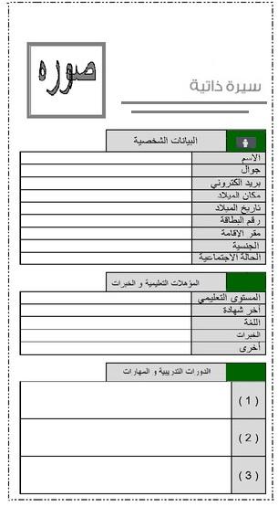 نموذج جاهز سيرة ذاتية باللغة العربية -كتابة سيرة ذاتية ناجحة CV