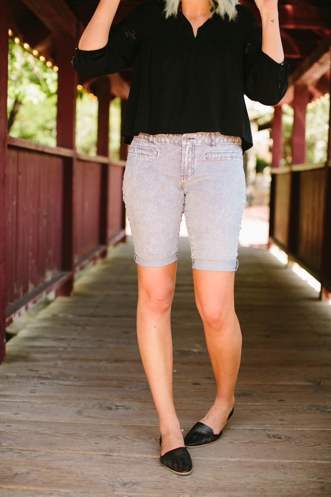 Pin Stripes, Knee length shorts, Downeast