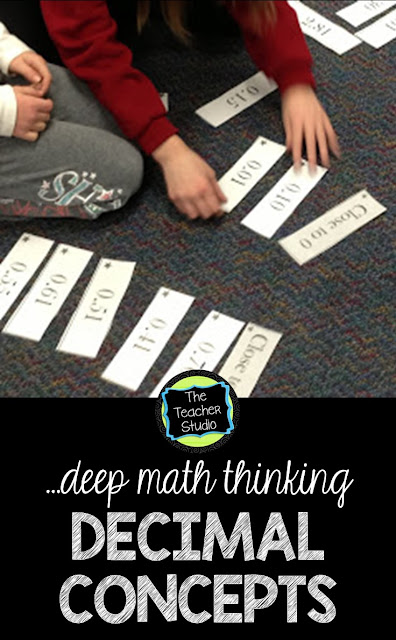Teaching decimals is a tricky thing in elementary school.  It is very important that students have a good understanding of how our place value system works.  This post explains some decimal lessons and decimal activities that can help with that number sense.  Fourth grade decimals, decimal lessons, decimal printables, teaching decimals