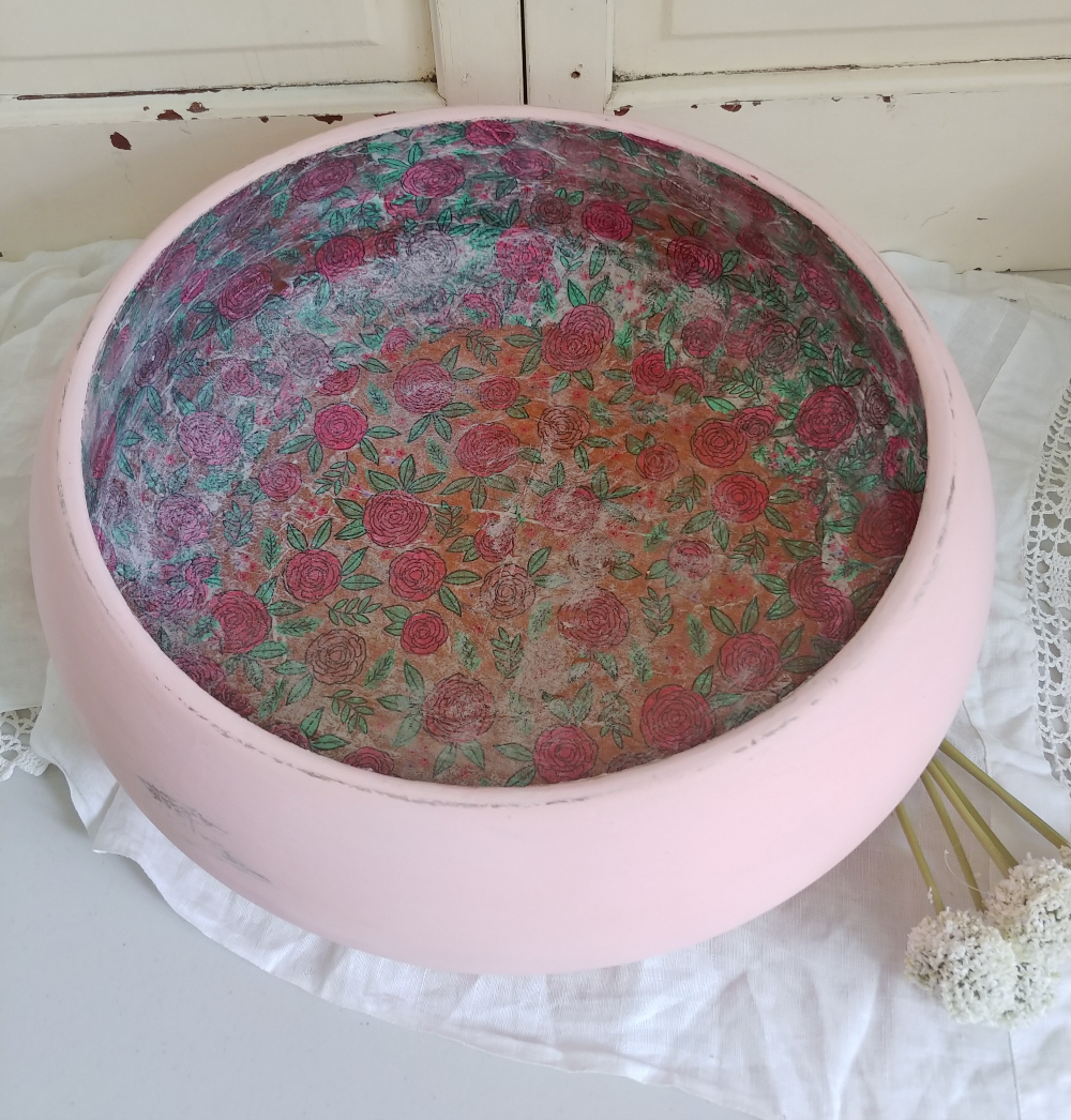 painted and decoupaged wooden bowl
