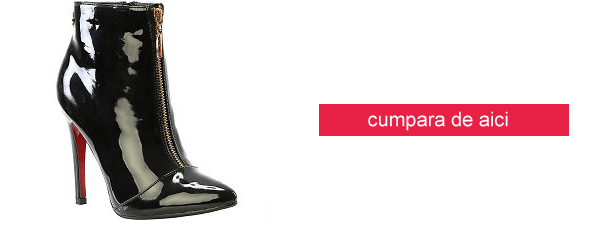 botine elegante de ocazie piele lacuita cu toc subtire negre