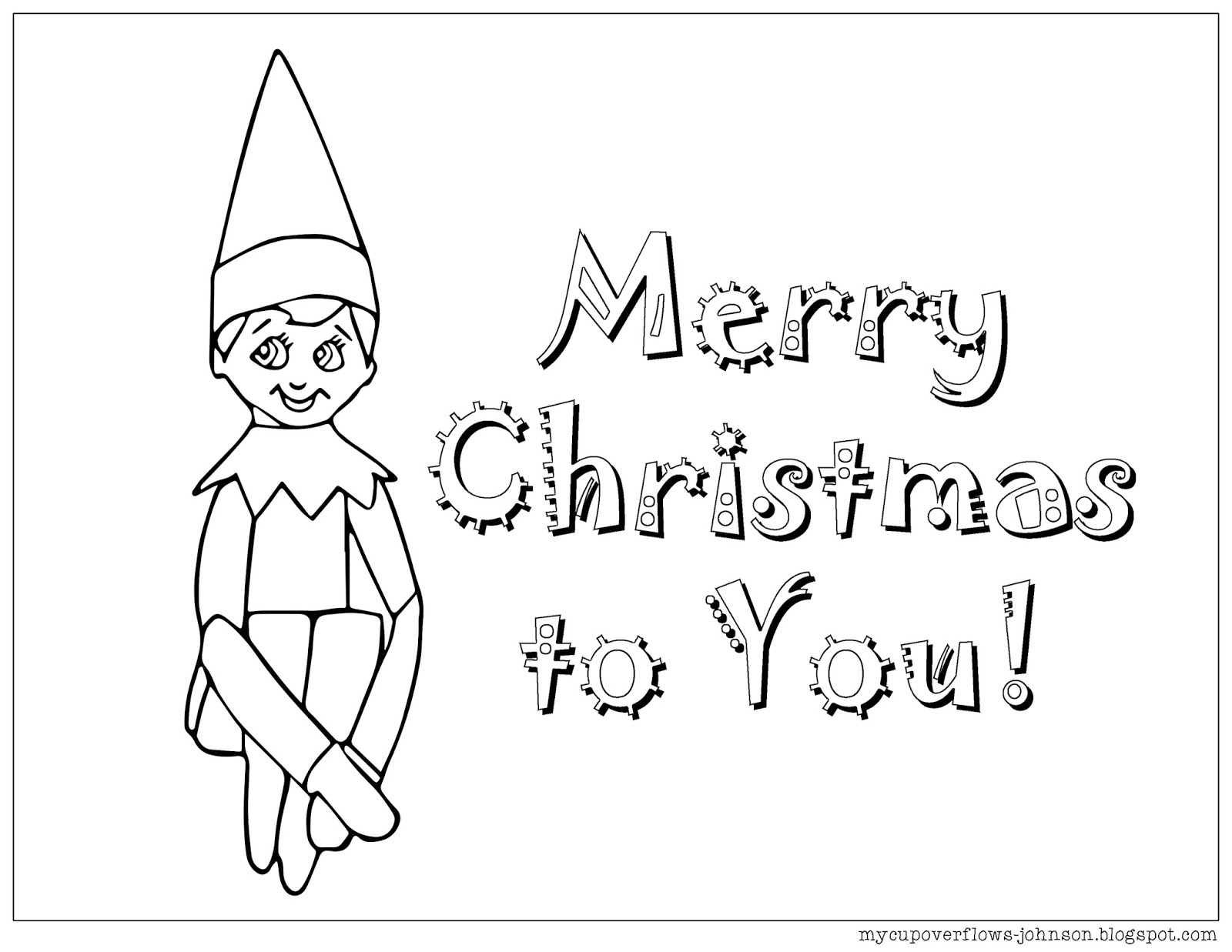 My Cup Overflows: Elf on the Shelf Coloring Page