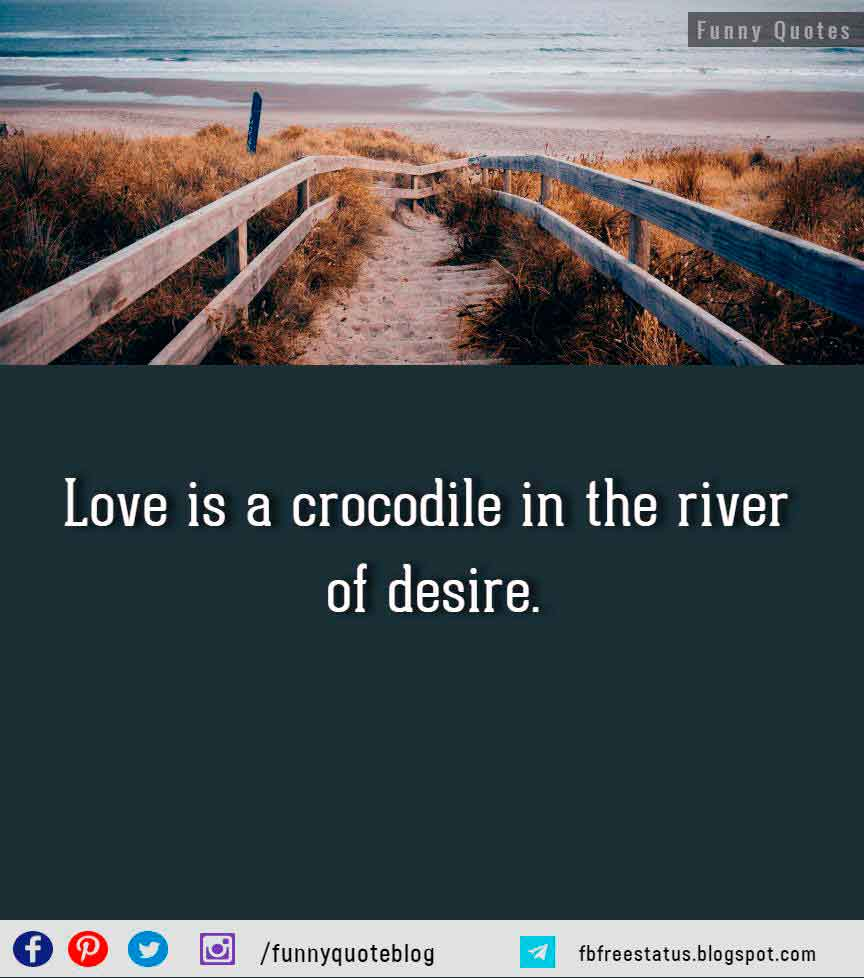 Love is a crocodile in the river of desire. - Bhartshari, Satakatraya, 5th century