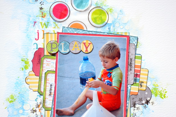 Mixed Media Layout by Denise van Deventer using the Toy Box Collection and Decoupage Paper