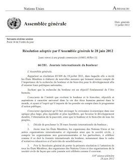 résolution de l'ONU sur le bonheur