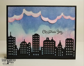 Our Daily Bread Designs Stamp Set: Christmas Card Verses, Custom Dies: City Skyline, Cloud Borders, Pierced Rectangles