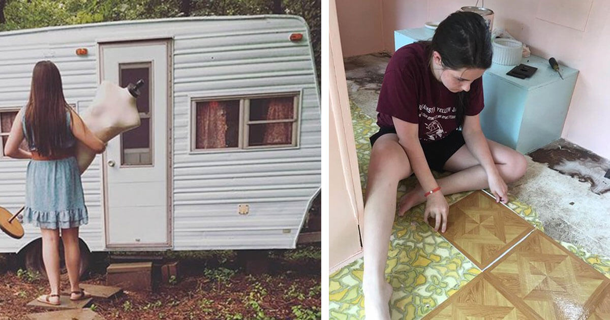 Motivated 14-Year-Old Saves Money For Old Camper And Turns It Into A Welcoming 'Glamper' For Her And Her Friends