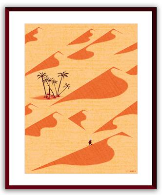 Clod illustration poster seul dans le sahara