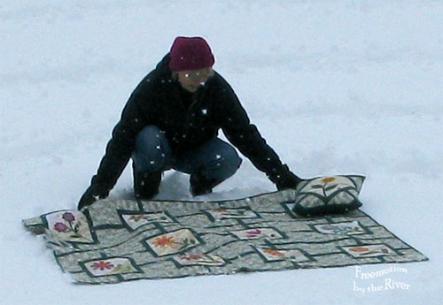 Crazy quilter in the snow - Freemotion by the River