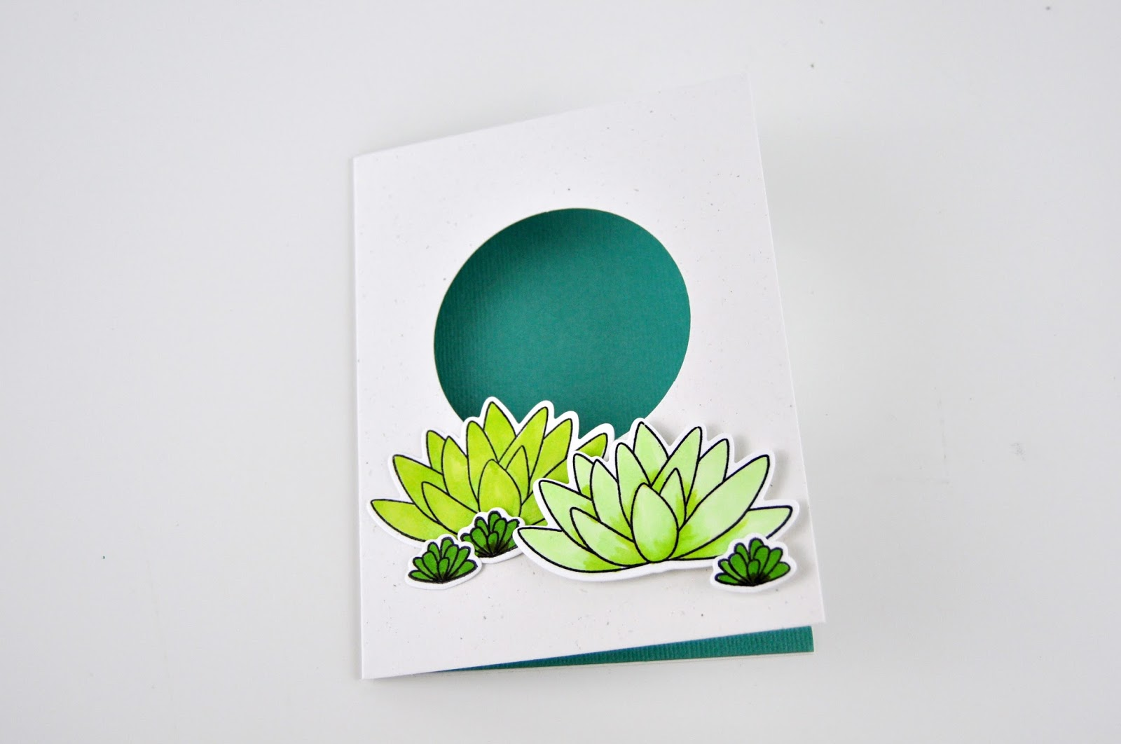 "Succulent window card featuring Jillibean Soup ""Shape the Shaker"" card and stamp/die set. Jen Gallacher creates a succulent, stamped card with Jillibean Soup. #jillibeansoup #jengallacher #stamping #cardmaker"