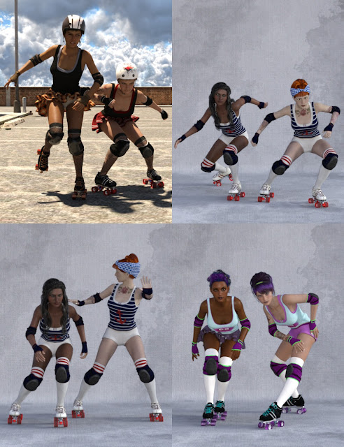 Roller Derby Poses for Genesis 3 Female