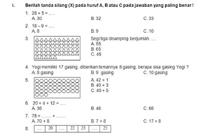 Soal UTS Matematika Kelas 1 Semester 2