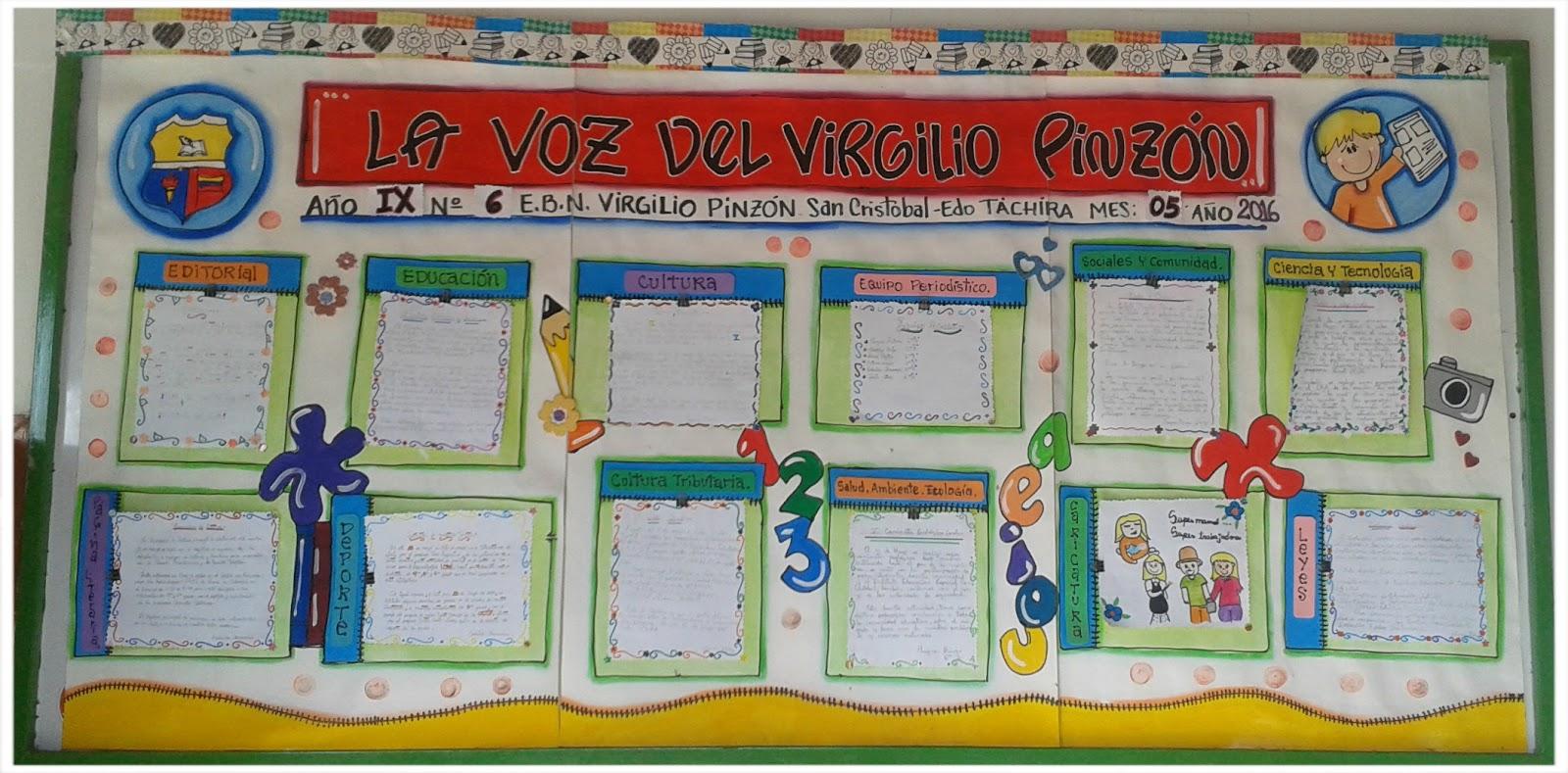 Escuela bolivariana virgilio pinz n peri dico mural for Editorial periodico mural