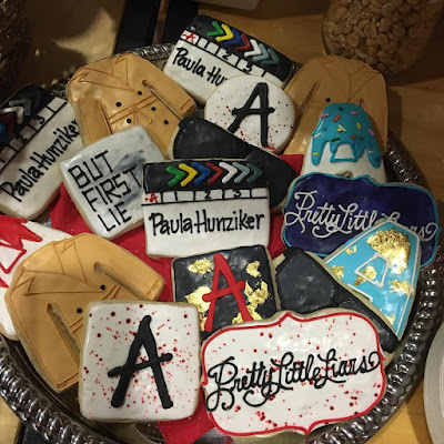 "PLL 7x16 behind the scenes set cute 'Pretty Little Liars' cookies episode ""The Glove That Rocks the Cradle"""
