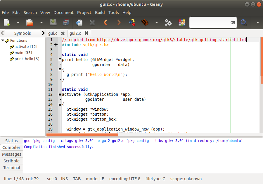 Ubuntu Buzz !: Setup C/GTK+ Programming Tools on Ubuntu for