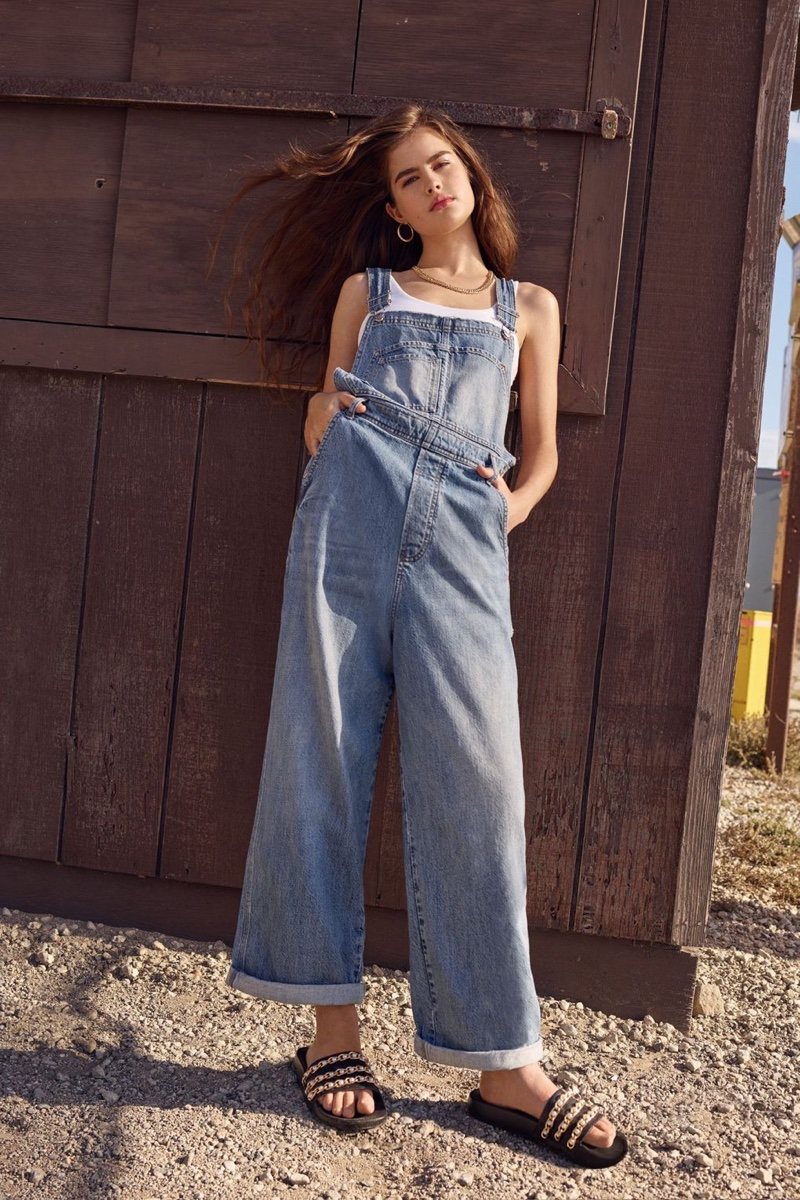 Lily Jean Harvey models Topshop MOTO Boyfriend Dungarees