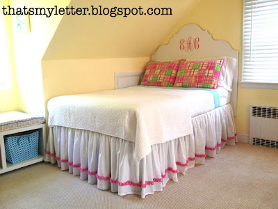diy gathered bedskirt with ruffle trim