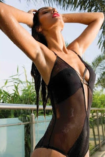 Bruna Abdullah in Black See-through Swimsuit
