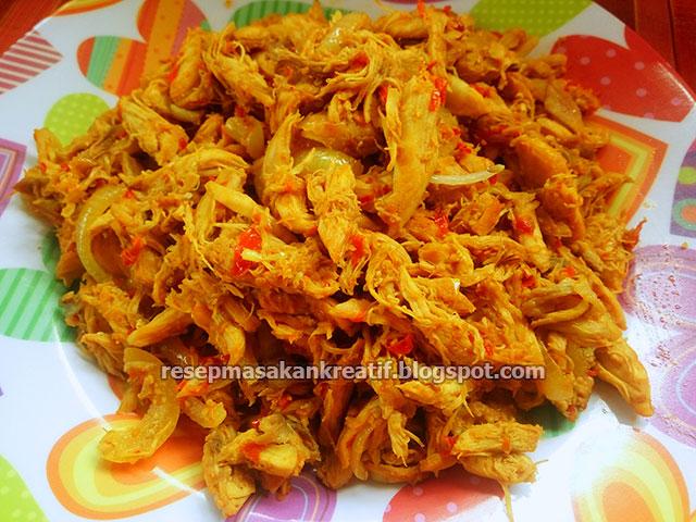 resep ayam suwir hajatan bumbu kering meresap aneka resep masakan sederhana kreatif Resepi Masakan Ayam Berkuah Enak dan Mudah