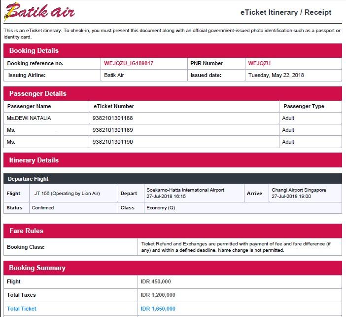 Tiket Batik Air Jakarta-Singapore