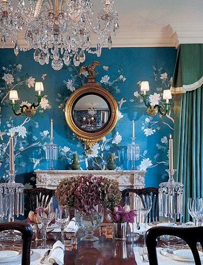 But Today Lets Take A Look At Some Stunning Blue Dining Rooms Swathed In Stunning De Gournay And Gracie Wallpaper
