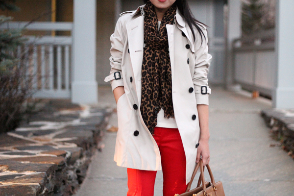 Trench Coat & Leopard Scarf
