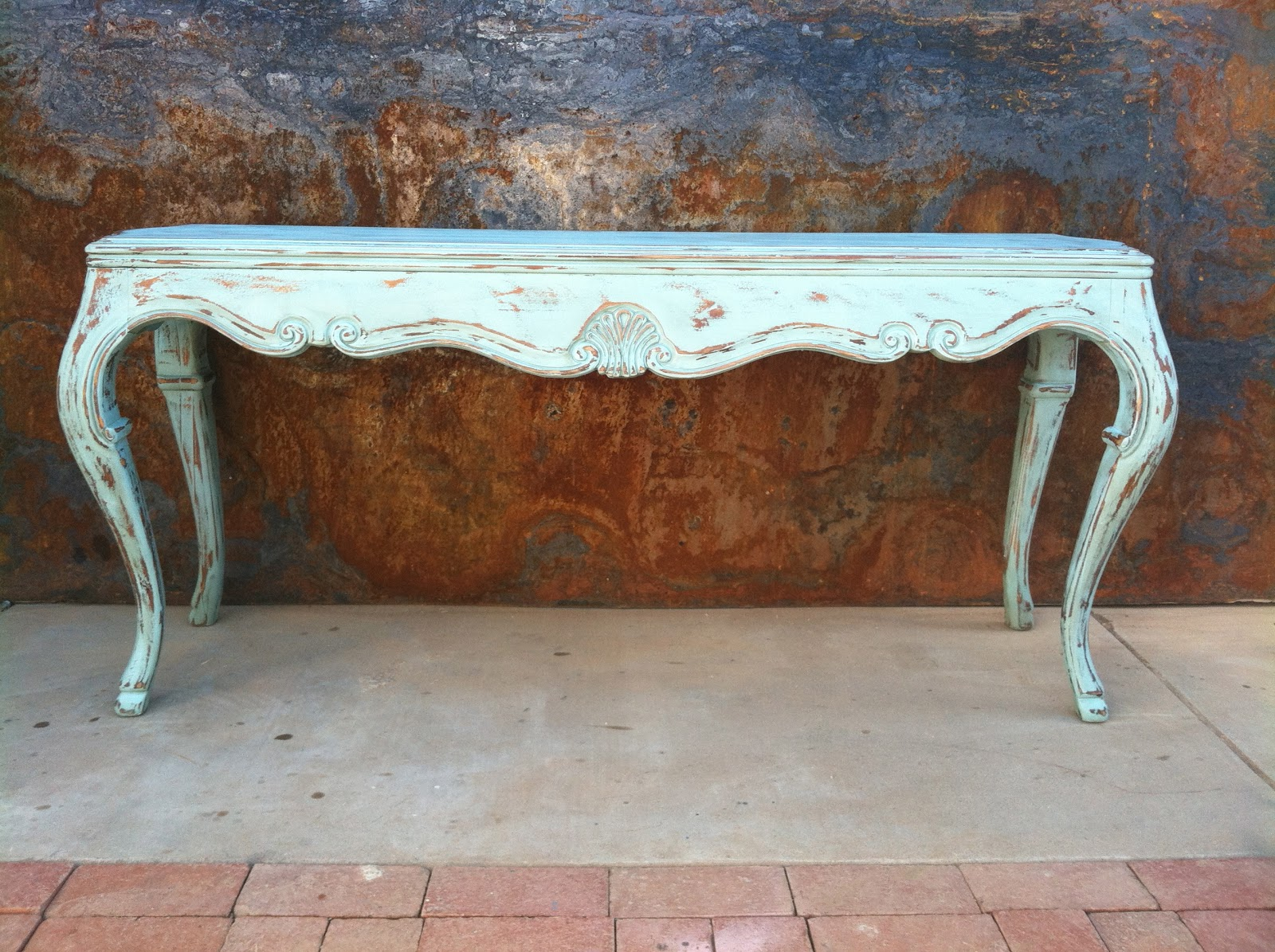 rustysaturday: Distressed Aqua Sofa Table
