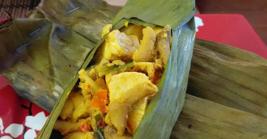 Resep dan cara membuat Pepes Usus Ayam Bumbu Kuning