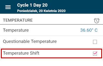 [Zdjęcie aplikacji Kindara - wskazywanie dnia wzrostu temperatury]