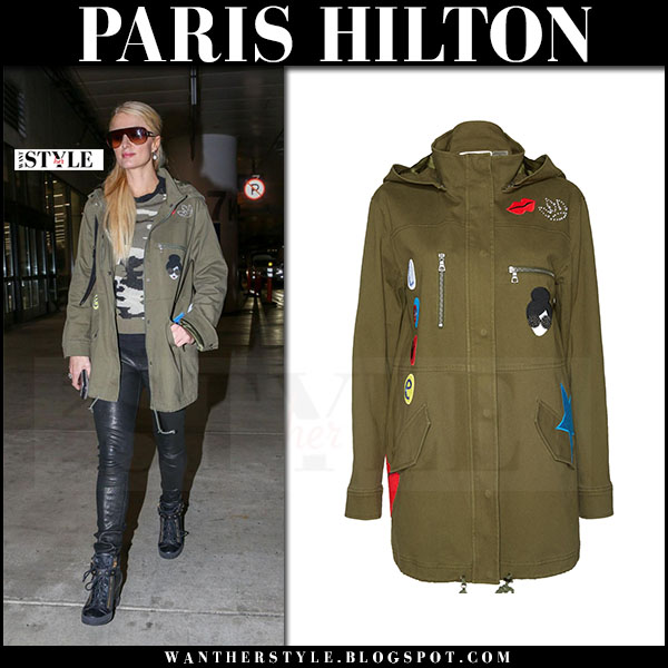 Paris Hilton in army green khaki canvas embellished parka alice olivia cheryl and black wedge sneakers giuseppe zanotti lorenz what she wore