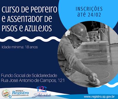 Fundo Social de Registro-SP oferece curso de Pedreiro e Assentador de Pisos e Azulejos