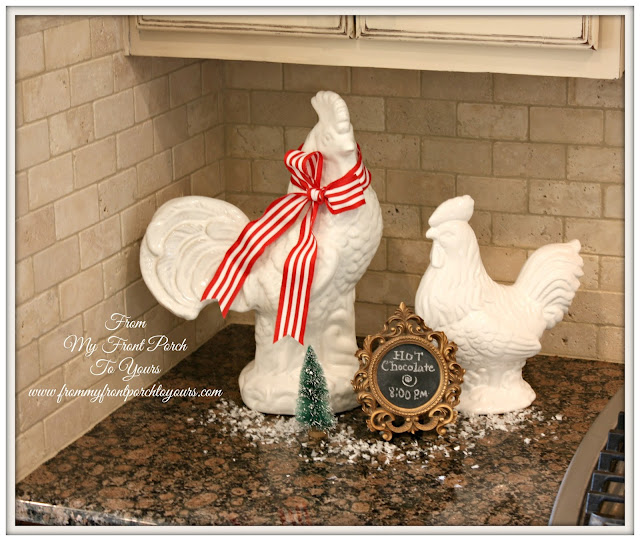 French Farmhouse- Christmas- Kitchen-White Roosters-From My Front Porch To Yours