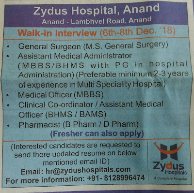 Zydus Hospital Recruitment