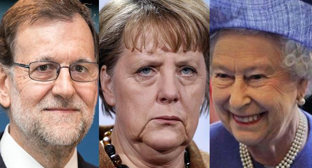 Mariano Rajoy, Ángela Merkel y la reina Isabel II de Inglaterra