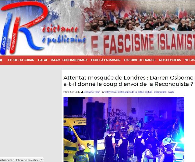 """Article de """"Résistance républicaine"""" sur l'attentat de Londres"""