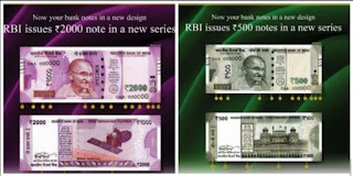 Currency notes of 500 and 2000 issued by RBI, India